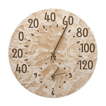 Sumac Indoor/Outdoor Wall Clock and Thermometer Limestone
