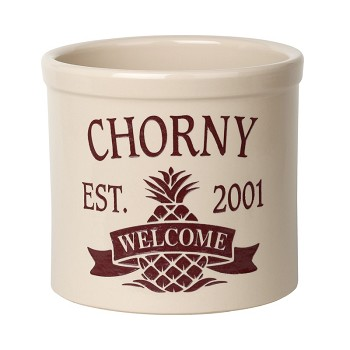 Stoneware Crock Pineapple Welcome Design