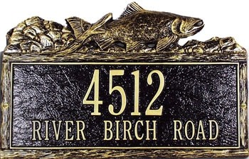 Woodland Address Plaque Trout