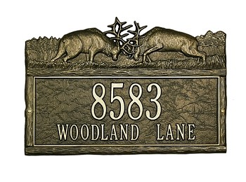Woodland Address Plaque Fighting Elk