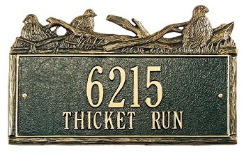 Woodland Address Plaque Quail