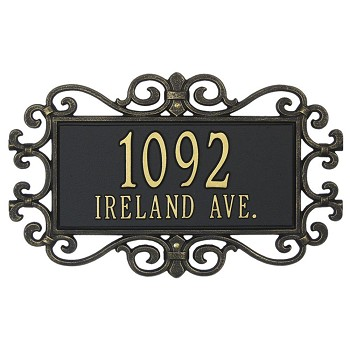 Mears Fretwork Address Plaque Wall 2 Line