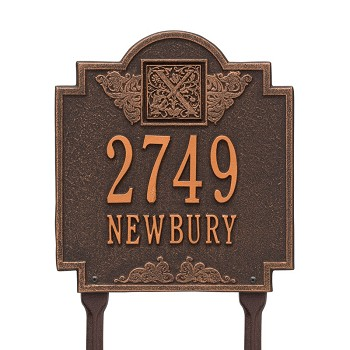 Monogram Address Plaque Lawn 2 Line