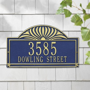Sunburst House Address Plaque Wall 2 Line