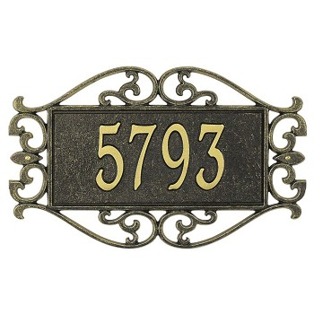 Lewis Fretwork Address Plaque Wall 1 Line