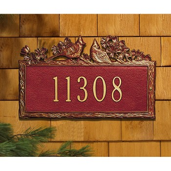 Woodland Address Plaque Cardinal Wall 1 Line