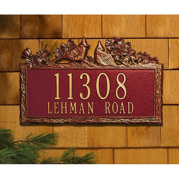 Woodland Address Plaque Cardinal Wall 2 Line