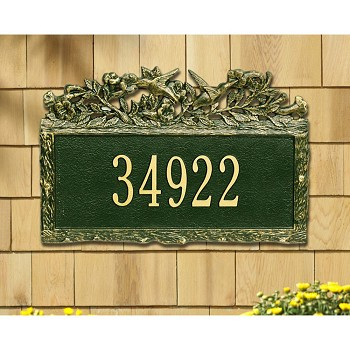 Woodland Address Plaque Hummingbird 1 Line