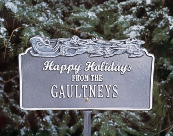 Happy Holidays Personalized Sign Sleigh & Reindeer
