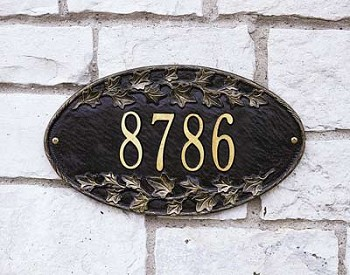 Ivy Oval Address Plaque