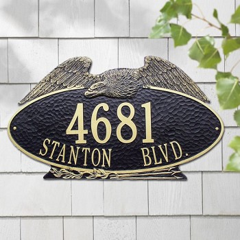 Eagle Address Plaque Oval Estate Wall 2 Line