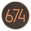 Oil Rubbed Bronze: Round Modern Wall Address Plaque