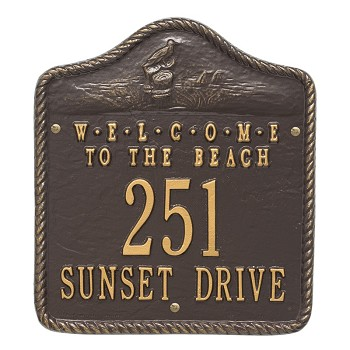 Beach Welcome Address Plaque Wall 2 Line