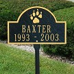 Dog Memorial Plaque with Paw Print in Black/Gold