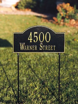 Two-Sided Lawn Address Plaque Arch 2 Line