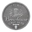 Pewter/Silver: Oak Barrel Beer Pub Wall Plaque