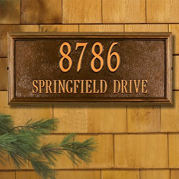Springfield Rectangle Address Plaque Wall 2 Line