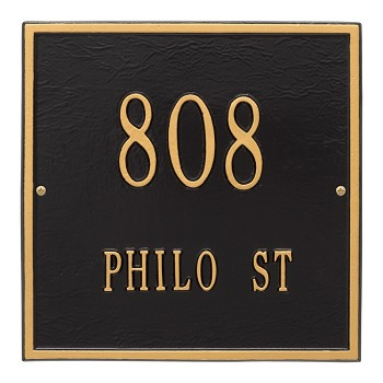"Square Address Plaque 11"" x 11"" Wall 2 Line"