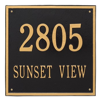 "Square Address Plaque 15"" x 15"" Wall 2 Line"
