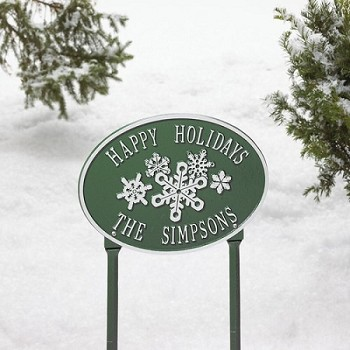 Snowflake Oval Personalized Sign