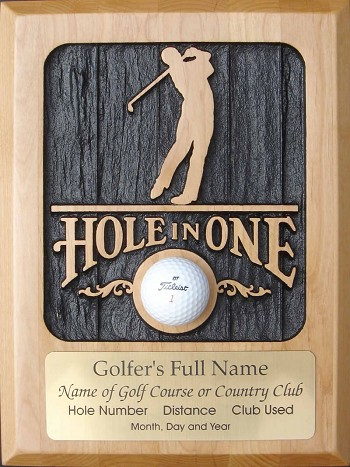 Hole in One, Carved Wood with Engraving, Male