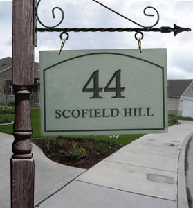 Hanging Slate Address Plaque Standard. Hanging bracket sold separately.