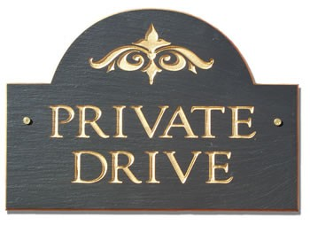 Private Drive Plaque Slate Arch Style
