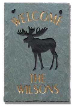 Welcome Moose Plaque Personalize