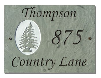 Twin Pines Address Plaque