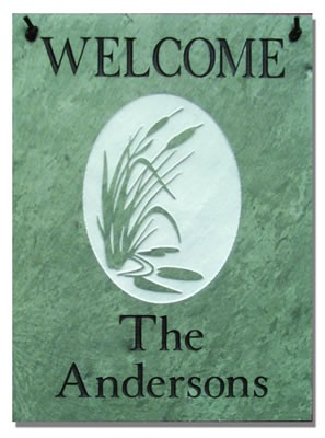 Welcome Plaque with Cattails